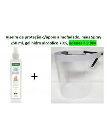 Viseira de proteção c/apoio cabeça + Spray Gel Alcoolico 250 ml