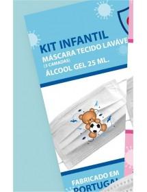Blister 1Máscara menino tecido lavavel + Álcool Gel