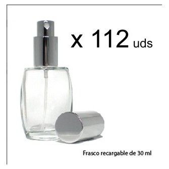 Pack 112 unidades frasco vidro perfume 30 ml recarregáveis